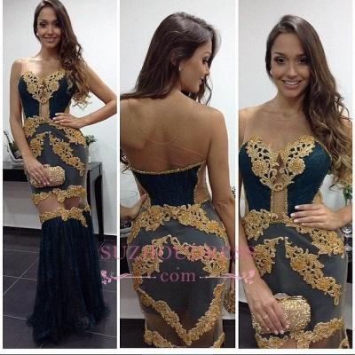 Tulle Column Newest Prom Dresses   Floor Length Sheath Sexy Evening Dress_1