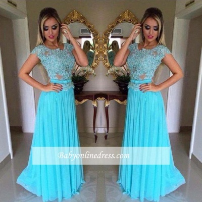 Appliques Scoop A-Line Short Sleeves  Long Evening Dresses Chiffon Prom Dress BA4709_1