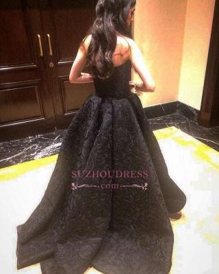 A-line Black Strapless Prom Dresses | Hi-Lo Lace  Prom Dresses_3