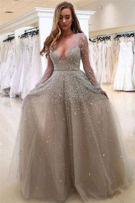 Sexy V-neck Long Sleeve Prom Dresses  Beads Tulle  Formal Evening Gown BA8559_1