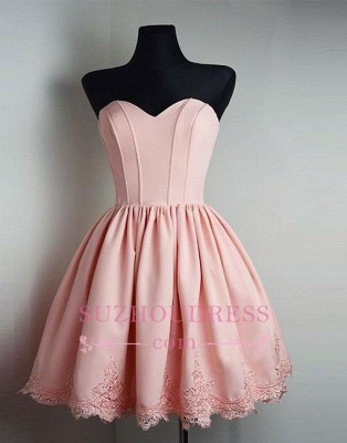 Short Cute Lace Pink Sweetheart-neck Homecoming Dress BA6855_4
