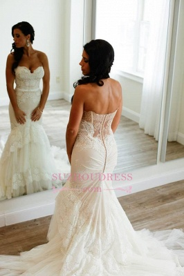 Sweetheart Appliques Buttons Elegant Tiered Tulle Mermaid Wedding Dress_1