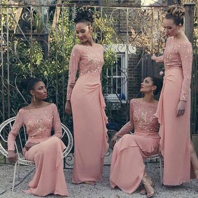 Bateau Long Sleeve Bridesmaid Dresses   Pink Chiffon Long Sexy Dress for Maid of Honor_3