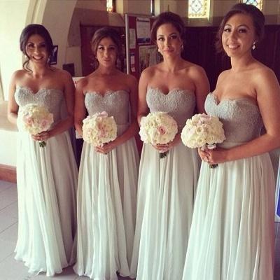 A-Line Sweerheart Chiffon Long Bridesmaid Dresses Simple Floor Length Wedding Dress_1