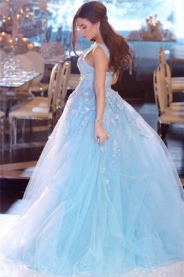 Glamorous Princess V-Neck Lace Sky Blue Prom Dress Sleeveless Appliques Tulle Evening Dresses On Sale_3