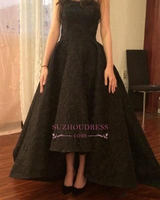 A-line Black Strapless Prom Dresses | Hi-Lo Lace  Prom Dresses_4