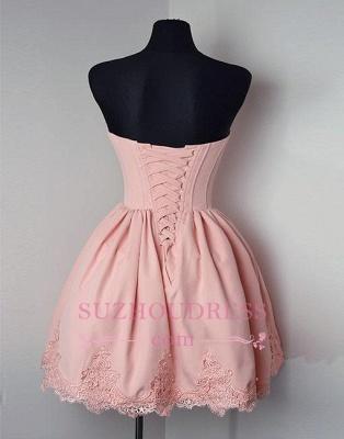 Short Cute Lace Pink Sweetheart-neck Homecoming Dress BA6855_3