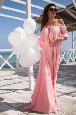 Chiffon Long  Short Sleeves Beach Elastic-band Outdoor Off-the-shoulder Evening Dress_5
