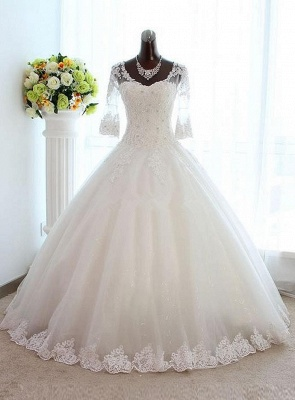 New Arrival Half Sleeve Lace Ball Gown Wedding Dress Crystal Tulle Plus Size Bridal Gown_1