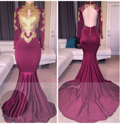 Gold Appliques High Neck Maroon Evening Gowns  Long Sleeves Backless Elegant Prom Dresses BA4987_4