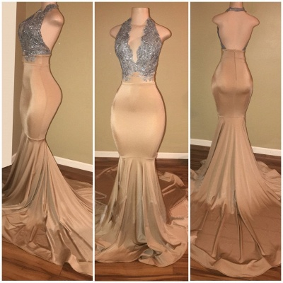 Luxury Halter Mermaid Prom Dresses  Sleeveless Applique Lace Evening Gowns BA7774_3