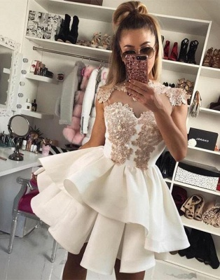 High Neck Champagne Lace Homecoming Dresses Sexy | Tiered Mini Sheer Tulle  Hoco Dresses_3