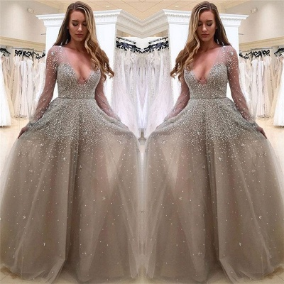 Sexy V-neck Long Sleeve Prom Dresses  Beads Tulle  Formal Evening Gown BA8559_3