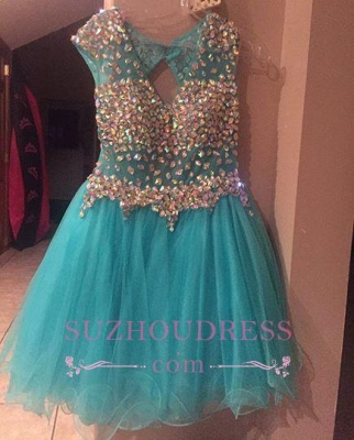 Short Gorgeous Tulle Crystal Sleeveless Homecoming Dress_5