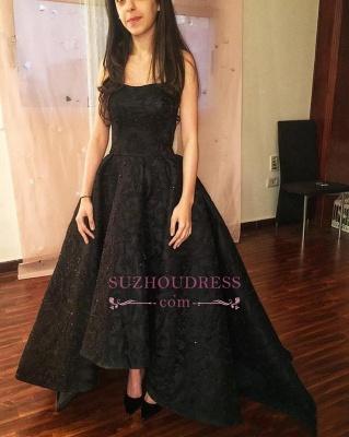 A-line Black Strapless Prom Dresses | Hi-Lo Lace  Prom Dresses_1