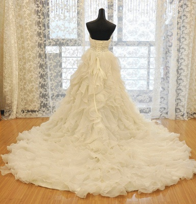 Elegant Sweetheart Ruffles A-line Wedding Dresses  Crystal Lace-up Bridal Gowns_4