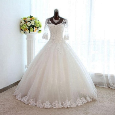 New Arrival Half Sleeve Lace Ball Gown Wedding Dress Crystal Tulle Plus Size Bridal Gown_3