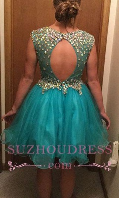 Short Gorgeous Tulle Crystal Sleeveless Homecoming Dress_3