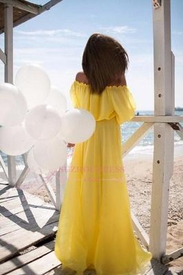 Chiffon Long  Short Sleeves Beach Elastic-band Outdoor Off-the-shoulder Evening Dress_4