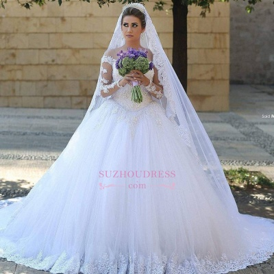 Puffy Tulle Ball Gown Bride Dress Appliques Long Sleeves Lace Elegant Long Train Wedding Dresses_3