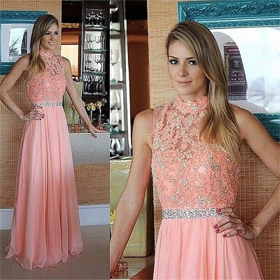 Pink Lace Chiffon  Prom Dress High Neck Evening Dress with Crystal Belt_2