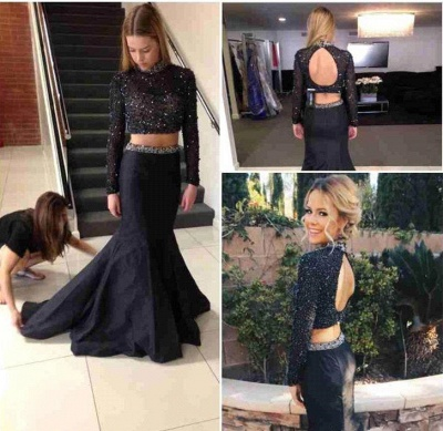 Black High Neck Beading Prom Dress  Mermaid Long Sleeve Two Piece Evening Gowns AE0113_5