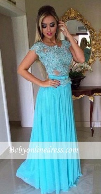 Appliques Scoop A-Line Short Sleeves  Long Evening Dresses Chiffon Prom Dress BA4709_2