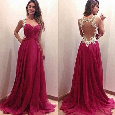 Popular  Prom Dresses White Lace Red Chiffon  Evening Dress Long_1