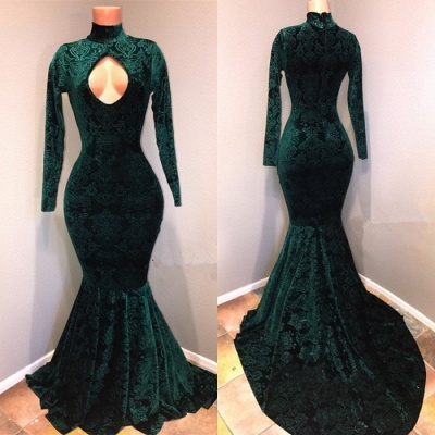Dark Green  Lace High Neck Prom Dresses | Sexy Keyhole Long Sleeves Mermaid Evening Gowns BA9437_2
