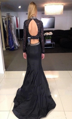 Black High Neck Beading Prom Dress  Mermaid Long Sleeve Two Piece Evening Gowns AE0113_4