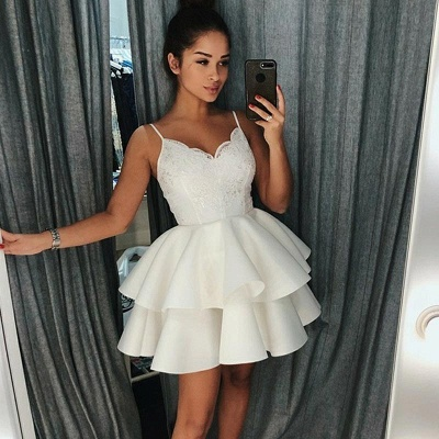 A-Line Tiered Homecoming Dresses   Spaghetti Straps Appliques Short Hoco Dress_3