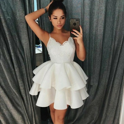 A-Line Tiered Homecoming Dresses   Spaghetti Straps Appliques Short Hoco Dress_4