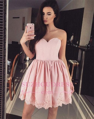 Short Cute Lace Pink Sweetheart-neck Homecoming Dress BA6855_1
