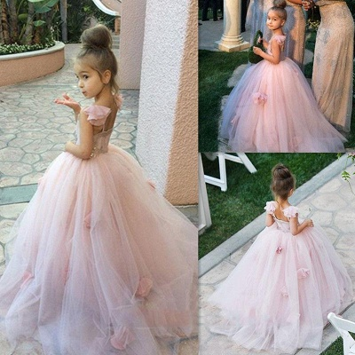 Cute Pink Tulle Flower Girl Dress New Arrival Long Children Dresses BA1419_4
