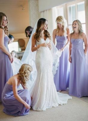 Empire Lavender Chiffon Long Bridesmaid Dress Ruffles  Floor Length Dresses for Wedding_2
