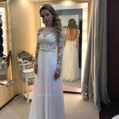 Long Sleeves A-line Chic Bride Dress  Floor Length Simple Backless Lace Wedding Dress_3