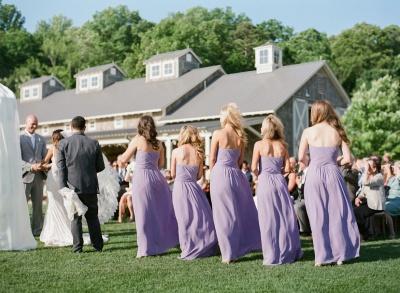 Empire Lavender Chiffon Long Bridesmaid Dress Ruffles  Floor Length Dresses for Wedding_4