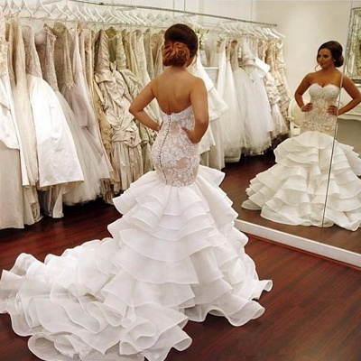 Elegant Lace  Mermaid Wedding Dress Tiered Open Back Strapless Wedding Gowns BA1540_6