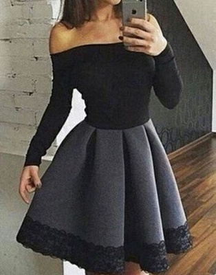 Simple Short Off-the-Shoulder Homecoming Dresses   Long Sleeves Lace  Hoco Dresses_4