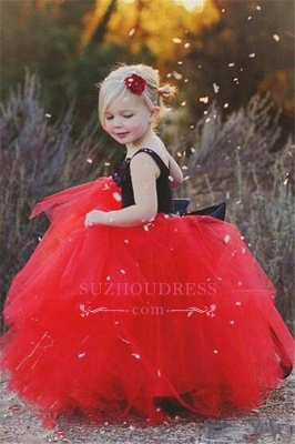 Black Appliques Red Tulle Puffy  Flowers Girl Dress