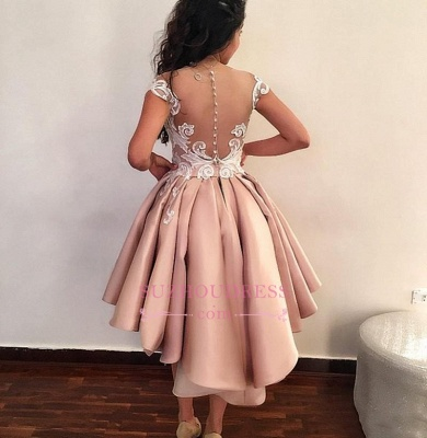 Short Pink Homecoming Dresses |  Cap Sleeves Lace Appliques Party Dress WW0002_4