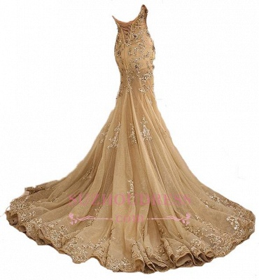 Mermaid Long Evening Gown Gold Lace Appliques Gold Lace-Up Sweetheart  Prom Dresses LY173_4
