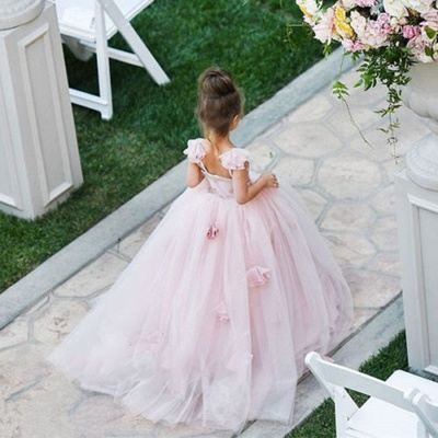 Cute Pink Tulle Flower Girl Dress New Arrival Long Children Dresses BA1419_3