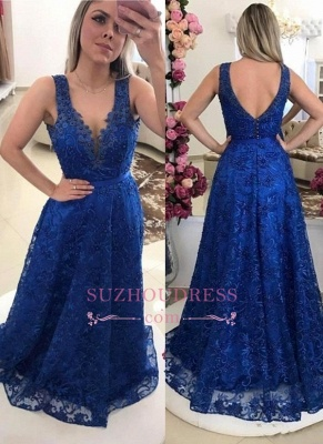 Royal-Blue V-Neck A-line Evening Dresses    Pearls Lace Prom Dresses BMT0_3