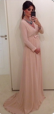 Chiffon Long Sleeve V-Neck  Maternity Dresses Sweep Train Plus Size Custom Inexpensive Baby Shower Dresses_1
