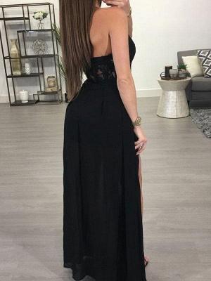 A-Line Black Prom Dresses Halter Appliques Floor Length Evening Gowns_3