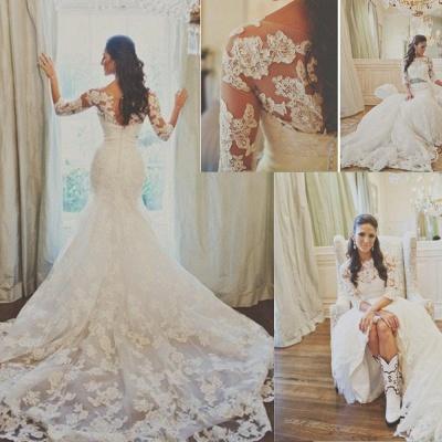 Elegant Half Sleeve Court Train Bridal Gown Latest White Mermaid Lace Wedding Dresses_3