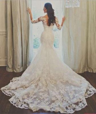 Elegant Half Sleeve Court Train Bridal Gown Latest White Mermaid Lace Wedding Dresses_2
