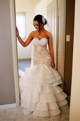 Elegant Lace  Mermaid Wedding Dress Tiered Open Back Strapless Wedding Gowns BA1540_4