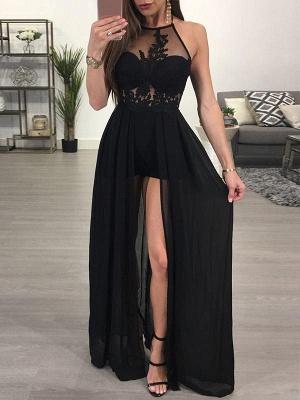 A-Line Black Prom Dresses Halter Appliques Floor Length Evening Gowns_1